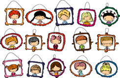 Portraits of children in the frame, vector Stock Photography