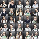 Portraits of children near a school board Royalty Free Stock Photography