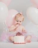 Portraits an d'un anniversaire avec le gâteau de fracas Photos stock