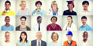 Portraits de concept mélangé multi-ethnique de personnes de professions Photographie stock