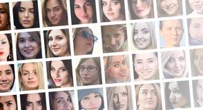 Portraits de groupe de collage de jeunes filles caucasiennes pour le medi social images stock