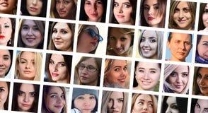 Portraits de groupe de collage de jeunes filles caucasiennes pour le medi social photographie stock