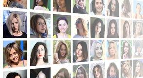 Portraits de groupe de collage de jeunes filles caucasiennes pour le medi social images libres de droits