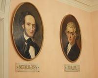 Portraits de Haydn et de Mendelssohn, conservatoire de Moscou Photographie stock libre de droits