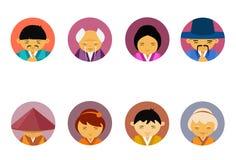 Portraits de l'ensemble asiatique de personnes des hommes et de femmes dans la collection masculine femelle d'icônes d'avatar de  illustration libre de droits