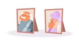 Portraits des couples plus anciens Vecteur de cadres de tableau cartoon Art d'isolement sur le fond blanc plat illustration stock