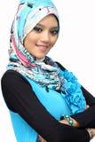 Portraits des jungen moslemischen Frauenlächelns stockfotos