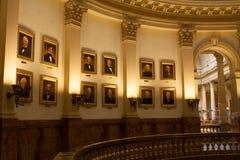 Portraits des présidents des USA dans le bâtiment de capitale de l'État du Colorado Images libres de droits