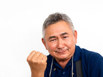 Portraits of elderly asian man has confidence. On white background with clipping path royalty free stock photos