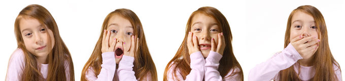 Portraits of emotional little girl Stock Image