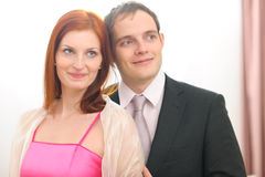 Portraits of formally dressed couple Stock Images