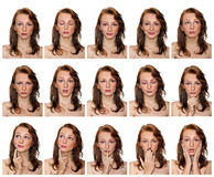 Portraits of freckled girl with expressions Stock Image
