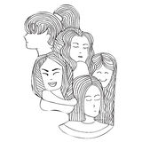 Portraits of girls in the graphic style. Pattern portraits of the girls in the graphic doodle style. Coloring pages for adult Royalty Free Stock Photo