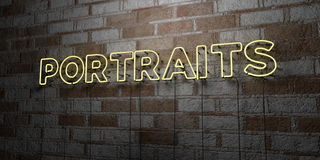 PORTRAITS - Glowing Neon Sign on stonework wall - 3D rendered royalty free stock illustration Royalty Free Stock Image