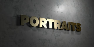Portraits - Gold text on black background - 3D rendered royalty free stock picture Stock Images
