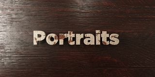 Portraits - grungy wooden headline on Maple  - 3D rendered royalty free stock image Royalty Free Stock Photography