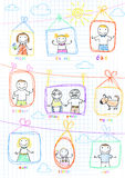 Portraits of happy family. Vector sketch on notebook page stock illustration