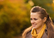 Portraits of happy young woman outdoors. Portraits of happy young woman in park Stock Photo