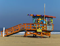 Portraits of Hope. SANTA MONICA, CA - OCT 11: The Portraits of Hope project transforms lifeguard towers along the LA Coastline by painting them with colorful Royalty Free Stock Photos
