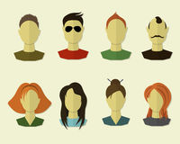 Portraits, icons in flat modern style Stock Images