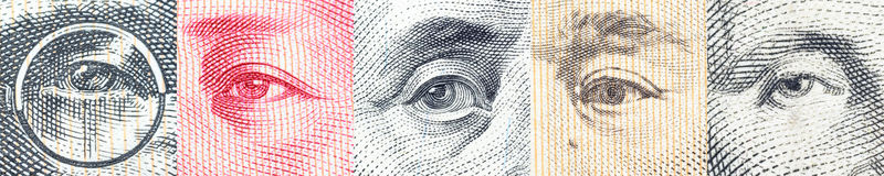 Portraits / images / the eyes of famous leader on banknotes, currencies of the most dominant countries in the world. Portraits / images / the eyes of famous Royalty Free Stock Photos