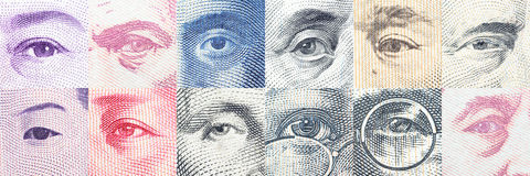 Portraits / images / the eyes of famous leader on banknotes, currencies of the most dominant countries in the world. Portraits / images / the eyes of famous Royalty Free Stock Photography