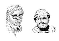 Portraits Indian men. Two hand drawn portraits of Indian man Stock Image