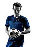 Portraits italiens de silhouette d'homme de footballeur Photos libres de droits