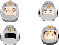 Portraits of a man cosHuman heads in space suits,  monaut in space. Royalty Free Stock Image