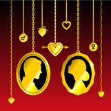 Portraits of man and woman. Hanging on the chains, with hearts, arrows and symbols of mars and venus. Gold on dark red background. Vector conceptual Royalty Free Stock Image