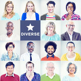 Portraits of Multiethnic Diverse Colorful People Royalty Free Stock Photo