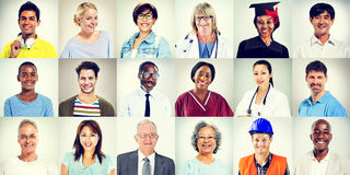 Portraits of Multiethnic Mixed Occupations People Concept Stock Photography