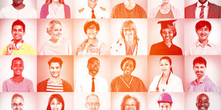 Portraits of Multiethnic Mixed Occupations People Concept Stock Photo