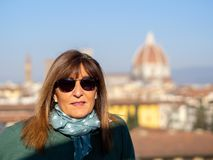 Portraits of my wife in front of Santa Maria del Fiore stock photography