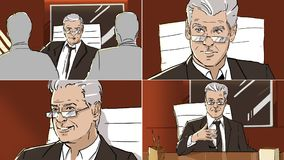 Portraits of an old man from storyboard. Color royalty free illustration