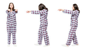 3 portraits in pajamas in a row a woman suffers from sleepwalkin Royalty Free Stock Images