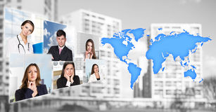 Portraits of people near map with icons Royalty Free Stock Photos