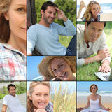 Portraits of people relaxing. In different settings Stock Images