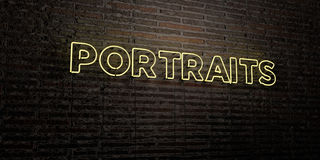 PORTRAITS -Realistic Neon Sign on Brick Wall background - 3D rendered royalty free stock image Royalty Free Stock Image