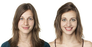 Portraits of the same young woman Stock Photo