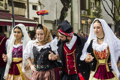 Portraits in Sardinian costume Stock Photography