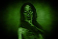 Portraits Of Scary Angry Ghost Woman In The Dark. 3d illustration of Portraits Of Scary Angry Ghost Woman In The Dark Stock Photos