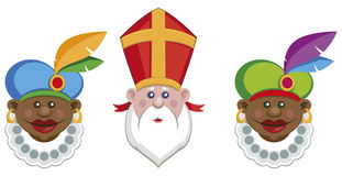 Portraits of Sinterklaas and his colorful helpers stock illustration