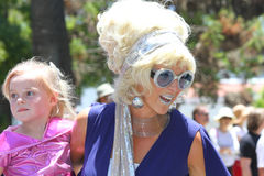 Retro Mom. Summer Solstice Celebration is the largest arts event in Santa Barbara, a 3‑day festival and Parade. Saturdays Parade on State Street draws crowds Royalty Free Stock Images