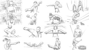 Portraits of sports people in a gym. Tablet portraits of sports people in a gym royalty free illustration