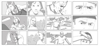 Portraits for storyboards. Black and white royalty free illustration