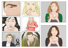 Portraits for storyboards. In color royalty free illustration