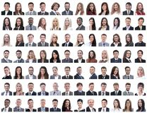 Portraits of successful employees on a white stock photography