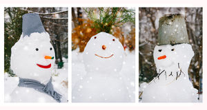 Portraits of three snowman in the park Stock Images