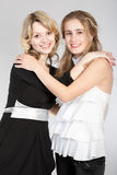 Portraits of two beautiful girls. Photographing of two nice girls royalty free stock images